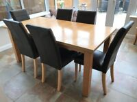 Extending 6-8 Seater Dining Table with 6 Leather Chairs