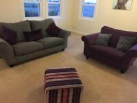 3 & 2 seater sofas and foot stool . Bought from Buicks of montrose
