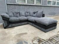 FREE DELIVERY BLACK & GREY FABRIC L-SHAPED CORNER SOFA GOOD CONDITION
