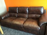 Free, settee, sofa. 3 & 2 seater and foot stool with storage brown leather