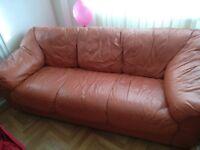 3 Seats Real Leather Sofa