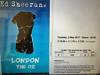Ed Sheeran Concert Tickets O2, Tuesday 2nd May, Seated x 2 Unrestricted View, Section 408