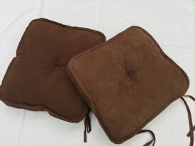 4 Faux Suede Chocolate Brown Cushion Seat Pads