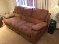 Suede effect Sofa , 3 and 2 piece both recliners