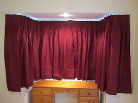John Lewis Made to Measure Curtains Double Pinch Pleat in Bordeaux Lined and Unused. Still Boxed