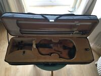 Full size Chinese workshop manufactured violin; in an antique finish