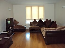 Sofa - Brown Leather & Fabric 5 Piece (Hemingway)