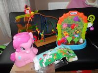 LITTLE TIKES PLANTER, PINK PONY BALL POPPER , WOODEN MAZE ROLLER-COASTER & SOFT BK LARGE TOYS