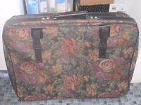 Large floral suitcase, with wheels