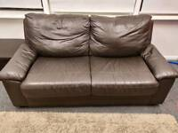 2/3 seater brown leather sofa bed