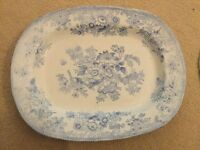 Small Blue and White Asiatic Pheasant Platter