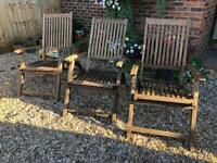 3 wooden reclining garden chairs