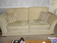 Three Seater Sofa and Two Armchairs in Oatmeal/Beige Colour in Very Good Condition