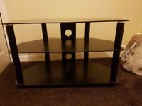 Black Glass TV stand with cable management bracket