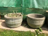 large vintage concrete planters pots pair garden decoration ornaments