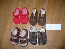 Bundle of 4 baby boy shoes and sandals size 3 infant incl. Clarks first steps. Very good condition.