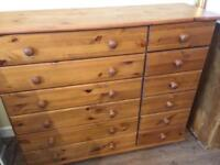 Pine 6 + 6 Chest Of Drawers