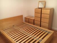 IKEA Malm Double Bed Frame, Bedside Cabinets and Tall Drawer Units (all matching Beech Veneer)