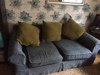 Large blue 2 seater sofa