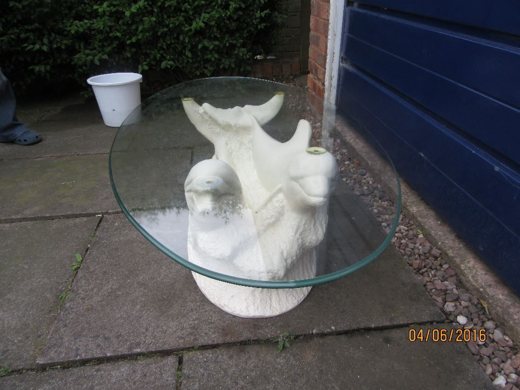 glass topped dolphin coffee table : in Northfield, West Midlands : Gumtree