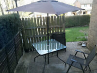 Garden table & 4 chairs with umbrella