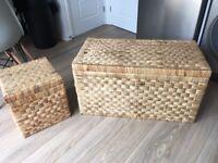 2 x wicker storage trunks