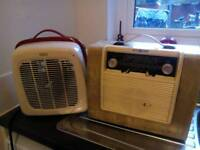 Vintage radio and electric fan