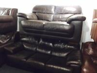 As new dark brown leather 3 and 2 sofas