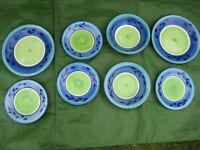 Selection of 8 Colour Themed Ceramic Dinner Plates, Side Plates and Soup/Breakfast Bowls for £5.00