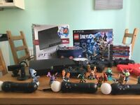 PS3, 4 controllers, 3 move controllers, camera, Bluetooth headset & various games