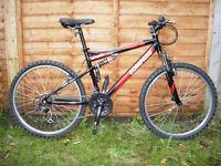A full suspension steel mountain bike