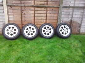Alloy Wheels / Tyres x 4 taken from 2004 BMW Mini. Size 175/65 R15. Pepperpot style rim