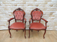 Dusky red chairs x pair (Delivery possible)