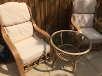 Cane garden furniture and table