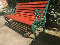 Cast iron lions head garden bench