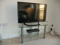 3-shelf glass TV unit