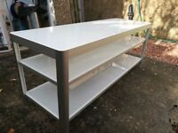 IKEA TV Bench, white glass / aluminium, excellent condition
