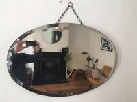 Vintage 1930s Art Deco Oval Frameless Bevelled Edge Wall Mirror Worn Wide Bevel