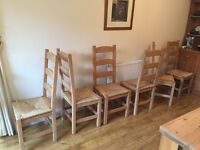 6 Pine Dining chairs