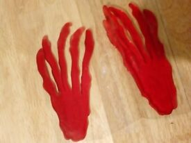 Window / Glass Decoration – Red Horror Hands - Sticky Jelly – Unused
