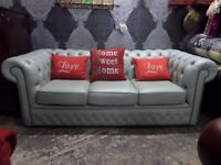 Beautiful Fenwicks Chesterfield 3 Seater Sofa in Blue Leather - Uk Delivery