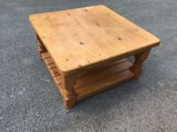 SOLID RUSTIC PINE COFFEE TABLE IN GOOD USED CONDITION GREAT UP-CYCLE PROJECT FREE LOCAL DELIVERY