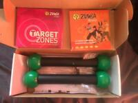 Zumba at home kit 5 DVDs with weighted sticks