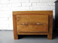 Two Iroko bedside drawers
