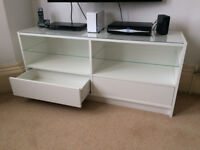 IKEA BOKSEL TV Stand with glass top, 2 glass shelves and 2 drawers , 139cm x 40cm x 62cm