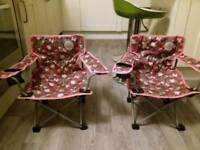 2 Folding Kids Camping Chairs