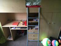 High sleeper with desk and wardrobe no mattress