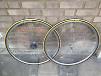 Pair of Retro Road Racing Wheels - 700c - 7 Speed and tyres