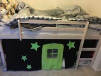 Cabin bed with slide and tent