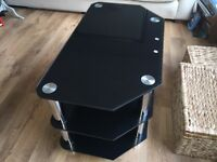 Modern black glass 3 tier TV stand